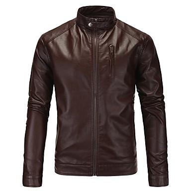 رجالي مناسب للبس اليومي قياس كبير عادية جواكيت جلد, لون سادة مرتفعة كم طويل PU أسود / أحمر