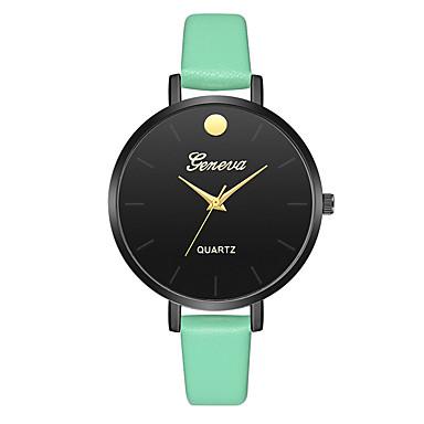 Geneva نسائي ساعة المعصم كوارتز جلد أسود / بني / أخضر تصميم جديد ساعة كاجوال كوول مماثل سيدات كاجوال موضة - أسود-أسمر أخضر أسود / أبيض سنة واحدة عمر البطارية
