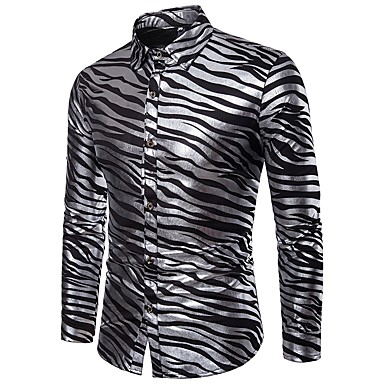 baratos Roupa de Homem Moderna-Homens Camisa Social - Festa / Bandagem Luxo / Básico Estampado, Listrado Branco L / Manga Longa