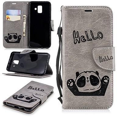 غطاء من أجل Samsung Galaxy A5(2018) / A6 (2018) / A6+ (2018) محفظة / حامل البطاقات / مع حامل غطاء خلفي باندا قاسي TPU