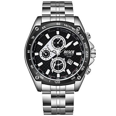 זול שעוני גברים-BOSCK בגדי ריקוד גברים שעון יד קווארץ מתכת אל חלד כסף 30 m עמיד במים לוח שנה עיצוב חדש אנלוגי אופנתי - לבן שחור כחול / זוהר בחושך