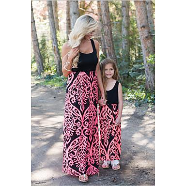 זול סטים של בגדים למשפחה-אוברול וסרבל מקסי ארוך ללא שרוולים טלאים פרחוני / קולור בלוק ליציאה בסיסי / מתוק אמא ואני ילדים / פעוטות
