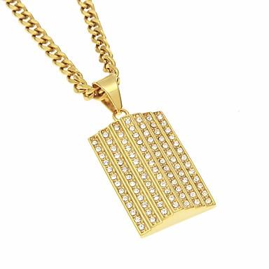 رجالي مكعب زركونيا قلائد الحلي ستايل أنيق شائع هيب هوب مثلج مطلية بالذهب ستانلس ستيل ذهبي 70 cm قلادة مجوهرات 1PC من أجل مواعدة شارع