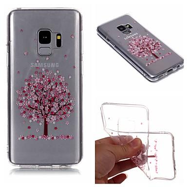 Недорогие Чехлы и кейсы для Galaxy S6 Edge-Кейс для Назначение SSamsung Galaxy S9 / S9 Plus / S8 Plus IMD / Прозрачный / С узором Кейс на заднюю панель дерево / Цветы Мягкий ТПУ