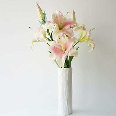 زهور اصطناعية 1 فرع كلاسيكي فردي أسلوب بسيط الزنابق أزهار الأرض