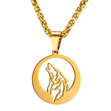 رجالي قلائد الحلي حبل حيوان ذئب موضة الفولاذ المقاوم للصدأ ذهبي فضي 55 cm قلادة مجوهرات 1PC من أجل هدية مناسب للبس اليومي