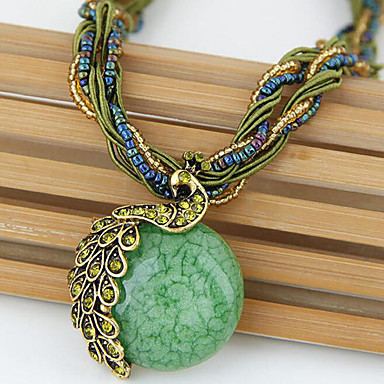cheap Necklaces-Women's Turquoise Cat's Eye Pendant Necklace Twisted Round Cut Peacock Ladies Vintage Bohemian European Opal Alloy Green Blue Navy 42+5 cm Necklace Jewelry For Wedding Party Daily Casual