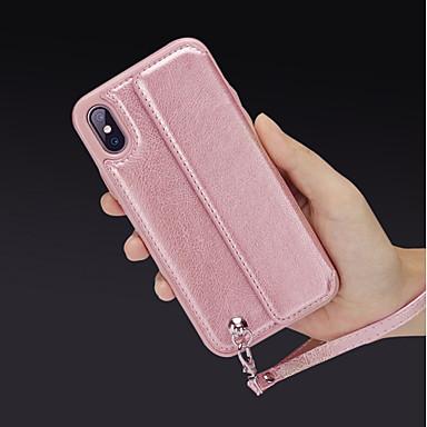 غطاء من أجل Apple iPhone X / iPhone 8 Plus / iPhone 8 محفظة / حامل البطاقات / مع حامل غطاء خلفي لون سادة قاسي جلد PU