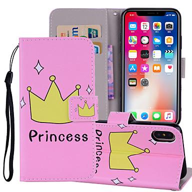 غطاء من أجل Apple iPhone X / iPhone 8 Plus / iPhone 8 محفظة / حامل البطاقات / مع حامل غطاء كامل للجسم جملة / كلمة قاسي جلد PU