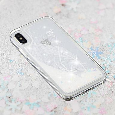 voordelige iPhone 5 hoesjes-hoesje Voor Apple iPhone X / iPhone 8 Plus / iPhone 8 Stromende vloeistof / Transparant / Patroon Achterkant Veren Zacht TPU