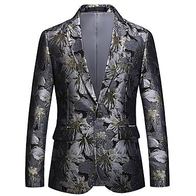 ieftine Îmbrăcăminte la Modă Bărbați-Bărbați Petrecere / Concediu Activ / Șic Stradă Primăvara & toamnă Regular Blazer, Floral În V Manșon Lung Poliester Jacquard Argintiu / Zvelt