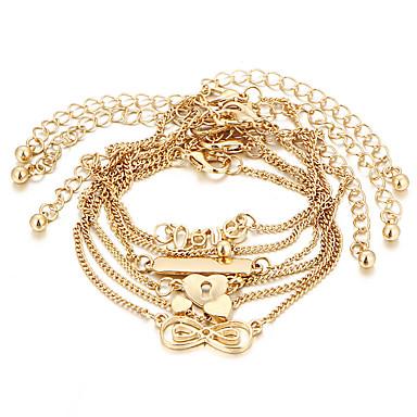Χαμηλού Κόστους Κοσμήματα σώματος-Γυναικεία Βραχιόλι αστραγάλου αστράγαλο βραχιόλι Πολυεπίπεδο Καρδιά Love Απειρο κυρίες Βίντατζ Μποέμ Μοντέρνα Βραχιόλι αστραγάλου Κοσμήματα Χρυσό Για Δώρο Βραδινό Πάρτυ