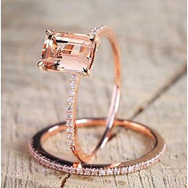 povoljno Prstenje-Žene Šampanjac Kubični Zirconia Pasijans Emerald Cut simuliran Band Ring Kamen Pozlaćeni Kreativan dame Jedinstven dizajn Elegantno Modno prstenje Jewelry Rose Gold Za Vjenčanje Dnevno Maškare / 2pcs