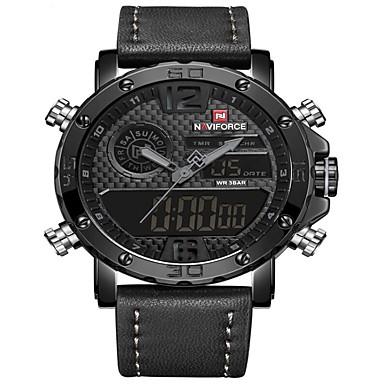Χαμηλού Κόστους Ανδρικά ρολόγια-NAVIFORCE Ανδρικά Αθλητικό Ρολόι Ρολόι Φορέματος Ψηφιακό ρολόι Ιαπωνικά Γιαπωνέζικο Quartz Γνήσιο δέρμα Μαύρο / Καφέ 30 m Ανθεκτικό στο Νερό Συναγερμός Ημερολόγιο Αναλογικό Ψηφιακό / Ενας χρόνος