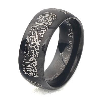 رجالي خاتم 1PC ذهبي أسود الصلب التيتانيوم مناسب للبس اليومي مجوهرات ستايل سلسلة الطوطم