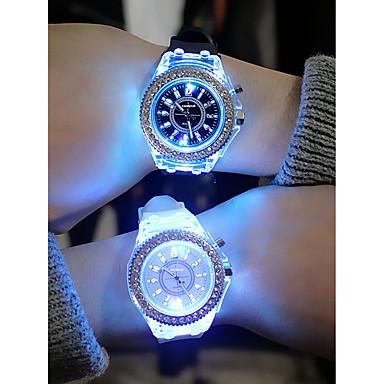 Pánské Dámské dámy Sportovní hodinky Diamond Watch Křemenný Silikon Černá / Bílá / Orange Chronograf kreativita Svítící Analogové Barevná Vánoce - Modrá Růžová Námořnická modř Jeden rok Životnost