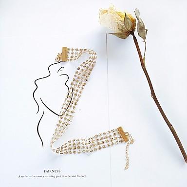 billige Mote Halskjede-Dame Choker Halskjede Elegant flettet Blomst damer Stilfull Søt Elegant Blonde Legering Gull Sølv 40 cm Halskjeder Smykker 1pc Til Stevnemøte Arbeid