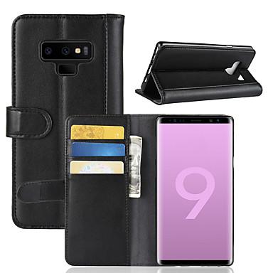 غطاء من أجل Samsung Galaxy Note 9 / Note 8 محفظة / حامل البطاقات / قلب غطاء كامل للجسم لون سادة قاسي جلد أصلي