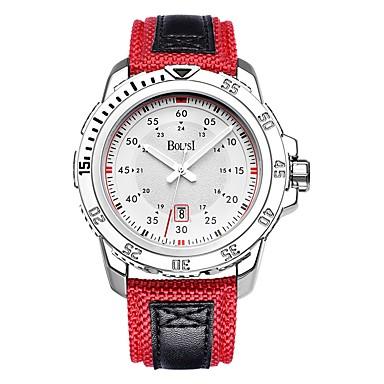 رجالي ساعة رياضية كوارتز جلد طبيعي أسود / أحمر ساعة كاجوال مماثل كاجوال - أسود-أحمر أبيض / فضي فضي / أحمر