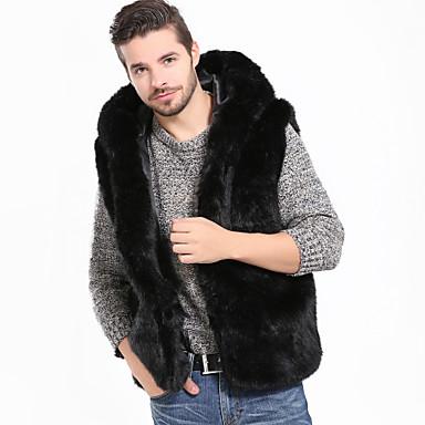 رجالي مناسب للعطلات / مناسب للخارج أساسي / أناقة الشارع الربيع / الشتاء / خريف & شتاء عادية Vest, لون سادة مع قبعة بدون كم فرو أسود