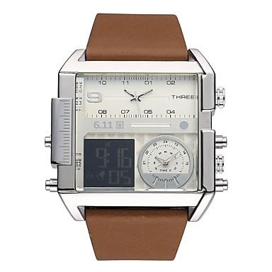 رجالي ساعة رياضية ساعة رقمية كوارتز المتضخم جلد طبيعي أسود / بني قضية كوول رقمي كاجوال موضة - أسود فضي / ستانلس ستيل