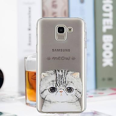 voordelige Galaxy J-serie hoesjes / covers-hoesje Voor Samsung Galaxy J7 (2017) / J6 / J5 (2017) Transparant / Patroon Achterkant Kat Zacht TPU