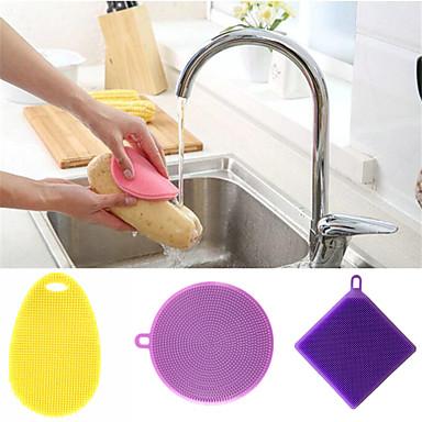 مطبخ معدات تنظيف السيليكون قطع و فراشي التنظيف بسيط / عالمي / أدوات مل 3pcs