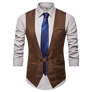 رجالي أسود أزرق البحرية كاكي L XL XXL Vest الأعمال التجارية / أساسي لون سادة V رقبة نحيل مناسب للحفلات / بدون كم