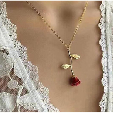 cheap Rose Gold Necklaces-Women's Pendant Necklace Y Necklace Classic Stylish Roses Ladies Dangling Romantic Fashion Alloy Silver Red Rose Gold 51 cm Necklace Jewelry 1pc For Going out Valentine