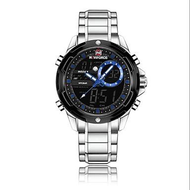 Χαμηλού Κόστους Ανδρικά ρολόγια-NAVIFORCE Ανδρικά Αθλητικό Ρολόι Στρατιωτικό Ρολόι Ψηφιακό ρολόι Ιαπωνικά Γιαπωνέζικο Quartz Ανοξείδωτο Ατσάλι Μαύρο / Ασημί 30 m Ανθεκτικό στο Νερό Συναγερμός Ημερολόγιο Αναλογικό-Ψηφιακό