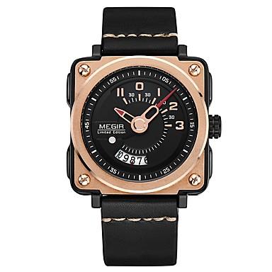 MEGIR رجالي ساعة رياضية ياباني كوارتز جلد طبيعي أسود 30 m مقاوم للماء رزنامه ساعة كاجوال مماثل كاجوال موضة - أسود ذهبي روزي