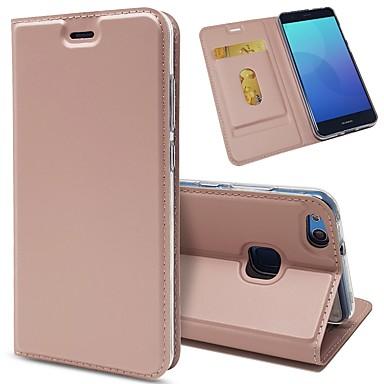 غطاء من أجل Huawei P10 Plus / P10 Lite / P10 حامل البطاقات / ضد الصدمات / مع حامل غطاء كامل للجسم لون سادة قاسي جلد PU