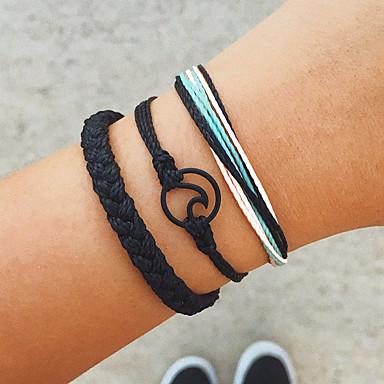 ieftine Brățări-3pcs Pentru femei Handmade Link Bracelet Brățară cu Pandativ Împletit Val femei Personalizat Vintage Dulce Boho Bumbac Bijuterii brățară Negru / Argintiu Pentru Cadou Zilnic Stradă Concediu
