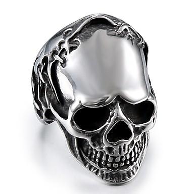 رجالي خاتم 1PC فضي الصلب التيتانيوم دائري عبارة أنيق بسيط شارع نادي مجوهرات فينتاج ستايل جمجمة كوول