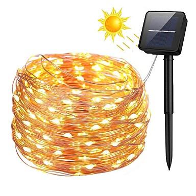 Zdm 100 المصابيح 10m33ft الفضة النحاس سلك الطاقة الشمسية سلسلة الأنوار في النجوم الجنية سلسلة الأنوار مع 8 الوضع للماء لحضور حفل زفاف حديقة المنزل عيد الأشجار فناء الحديقة