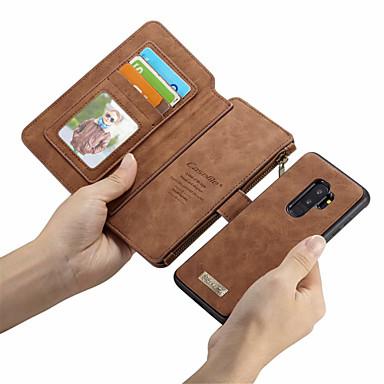 Недорогие Чехлы и кейсы для Galaxy S6 Edge-CaseMe Кейс для Назначение SSamsung Galaxy S9 Plus / S9 Кошелек / Бумажник для карт / Флип Чехол Однотонный Твердый Кожа PU для S9 / S9 Plus / S8 Plus