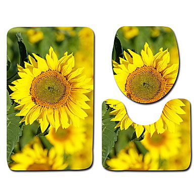 3 قطعات تقليدي / زهري مماسح الحمام 100g / m2 البوليستر الإمتداد حك طباعة زهور غير منتظم محبوب