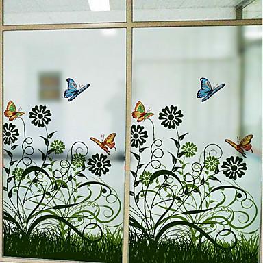 فيلم نافذة وملصقات زخرفة زهري ورد PVC جميل
