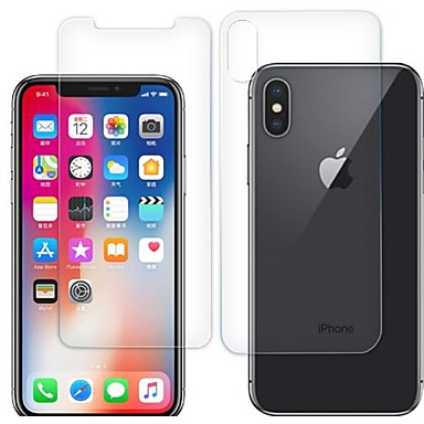 voordelige iPhone X screenprotectors-AppleScreen ProtectoriPhone X High-Definition (HD) Voorkant- & achterkantbescherming 2 pcts Gehard Glas
