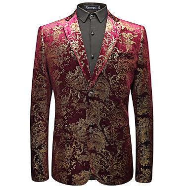 abordables Ropa de Moda Hombres-Hombre Noche / Trabajo Regular Blazer, Floral Solapa de Pico Manga Larga Poliéster Morado XL / XXL / XXXL / Informal de negocios