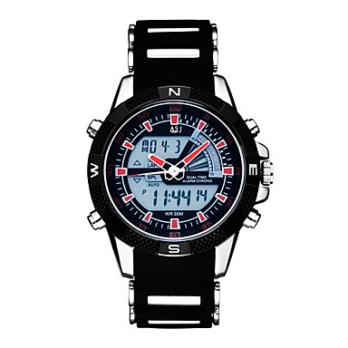 Χαμηλού Κόστους Ανδρικά ρολόγια-ASJ Ανδρικά Αθλητικό Ρολόι Ψηφιακό ρολόι Ιαπωνικά Χαλαζίας Συνθετικό δέρμα με επένδυση Μαύρο 30 m Ανθεκτικό στο Νερό Ημερολόγιο Χρονογράφος Αναλογικό-Ψηφιακό Καθημερινό Μοντέρνα - Μαύρο Κόκκινο