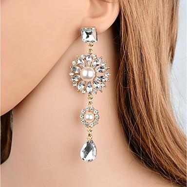 a4c185f90246 abordables Pendientes-Mujer Retro Largo Pendientes colgantes Perla  Artificial Brillante Aretes Pera damas Vintage Elegante