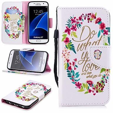 غطاء من أجل Samsung Galaxy S7 محفظة / حامل البطاقات / مع حامل غطاء كامل للجسم زهور قاسي جلد PU