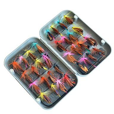 32 pcs Muște Δόλωμα Muște MetalPistol ABS Confecționat Manual Ușor de transportat Plutire Pescuit mare Pescuit cu Muscă Aruncare Momeală / Pescuit la Copcă / Filare / Pescuit la Oscilantă