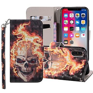 غطاء من أجل Apple iPhone XS / iPhone XR / iPhone XS Max محفظة / حامل البطاقات / مع حامل غطاء كامل للجسم جماجم قاسي جلد PU