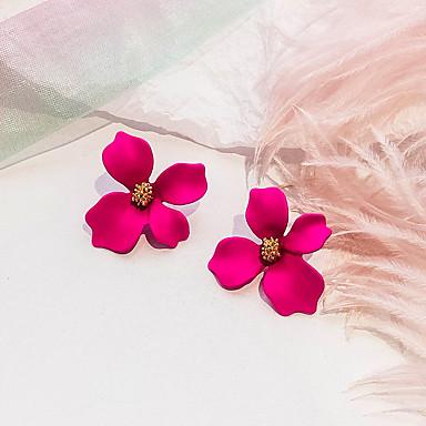 여성용 레트로 스터드 귀걸이 귀걸이 꽃장식 숙녀 유럽의 단 패션 보석류 로즈 / 그린 / 핑크 제품 파티 일상 1 쌍