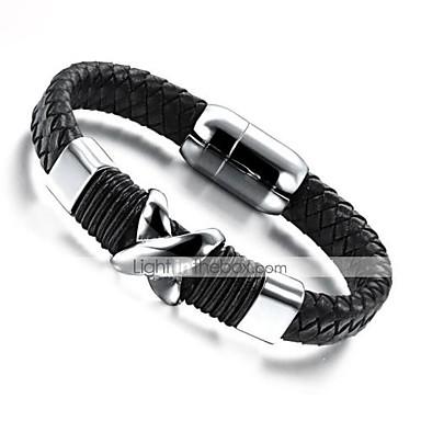voordelige Heren Armband-Heren Lederen armbanden loom Bracelet Gevlochten Magnetisch Uniek ontwerp modieus aitoa nahkaa Armband sieraden Zwart Voor Dagelijks Straat / Titanium Staal