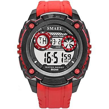זול שעוני גברים-SMAEL בגדי ריקוד גברים שעוני ספורט שעון דיגיטלי Japanese דיגיטלי סיליקוןריצה שחור / אדום 50 m עמיד במים לוח שנה זוהר בחושך דיגיטלי אופנתי - שחור שחור / אדום