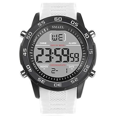 זול שעוני גברים-SMAEL בגדי ריקוד גברים שעוני ספורט שעון דיגיטלי Japanese דיגיטלי סיליקוןריצה שחור / לבן 50 m עמיד במים לוח שנה זוהר בחושך דיגיטלי אופנתי - שחור שחור / לבן