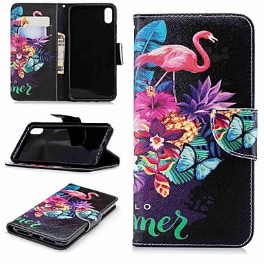 voordelige iPhone X hoesjes-hoesje Voor Apple iPhone XS / iPhone XR / iPhone XS Max Portemonnee / Kaarthouder / met standaard Volledig hoesje Flamingo / dier Hard PU-nahka